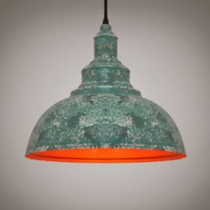 Green Mottled Iron Single Light Dome Industrial Warehouse Pendant