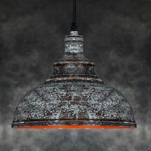 12 Inches Wide Mottled Iron with Grey 1 Light Barn Pendant Lighting