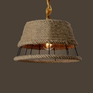 15'' Wide Natural Burlap Iron Frame Foyer Pendant with Trapezium Shade