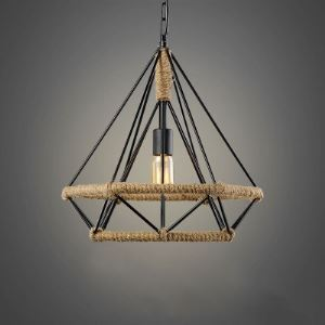 14'' Width Open Diamond Cage Hanging Lamp with Burlap Intertwined