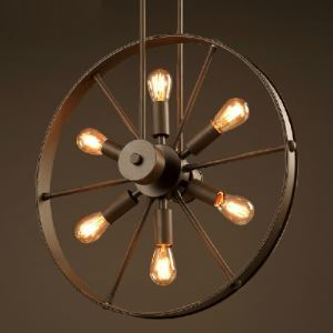 19 1/4'' W Dark Bronze 6 Light Wheel Shade Indoor Pendant