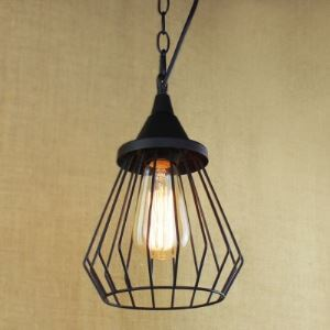 Slatted Metal Cage 1 Light Mini Swag Pendant