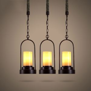 Amber Glass Single Light Mini Pendant with Burlap Accents in Black Finish