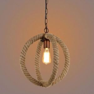 Antique Copper Globe Single Light Mini Pendant with Natural Rope