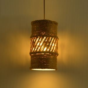 Single Light Vintage Burlap Mini Pendant with Cylindrical Shade