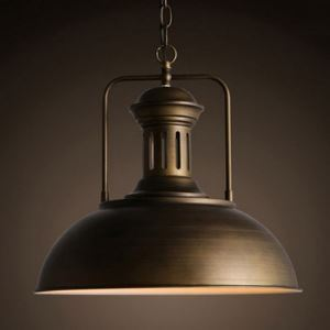 (In Stock) Brushed Gold 1- Light Industrial Pendant with Dome Shade-16'' W
