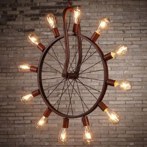 Aged Copper 12 Lights Industrial Pendant in Wheel Shape