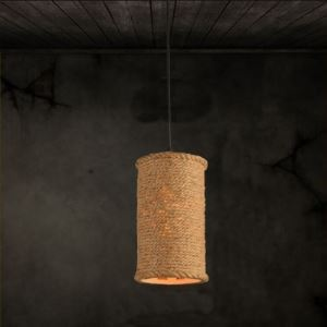6 Inches Wide Burlap Single Light Pendant with Cylinder Shade