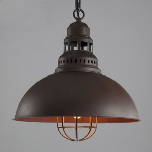 Barn Pendant Light  in Antique Finish with Dome Shade and Metal Cage