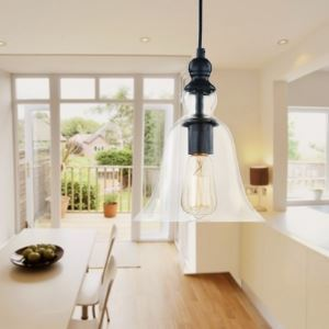 Matte Black 1 Light Down Light Clear Bell Glass Mini Pendant Lighting
