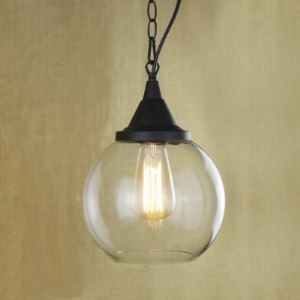 Matte Black Single Light Mini Hanging Pendant with Clear Glass Shade