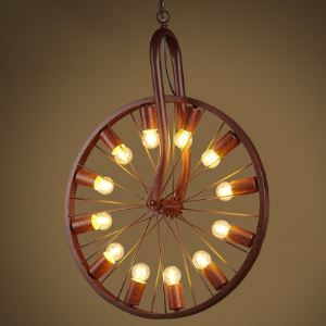 Weathered Copper 12 Light Pendant in Wheel Design