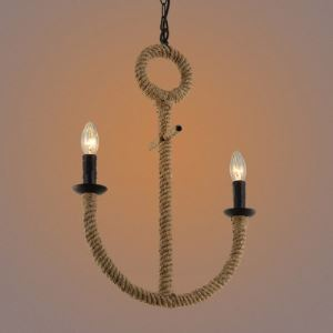 Burlap 2 Light Symmetrical Fishhook Pendant Light