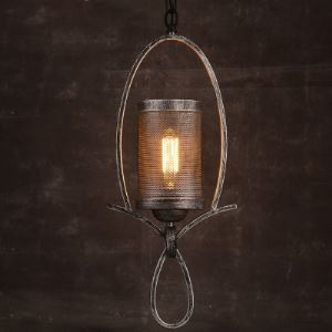 Old Iron Single Light Hanging Pendant with Twisted Arm Design