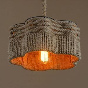 14'' W Industrial Vintage Burlap 1 Bulb Hanging Pendant