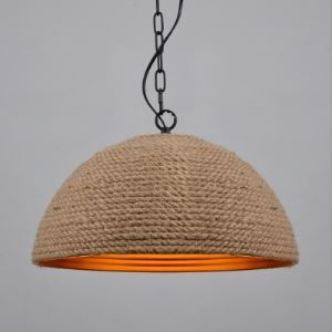 6 Inches Wide Dome Burlap One Light Mini Pendant