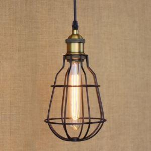 6 Inches Wide Textured Satin Black Wire Guard 1-Bulb Mini-Pendant