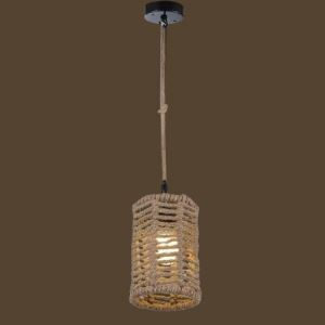 Cylinder Single Light Burlap Mini Pendant