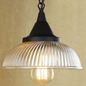 8 3/4 Inches Wide 1 Light Ribbed Glass Dome Mini Pendant Light