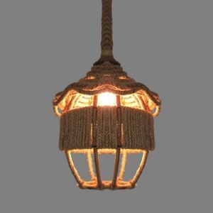 12'' Width One Light Burlap Pendant with Little House Shade