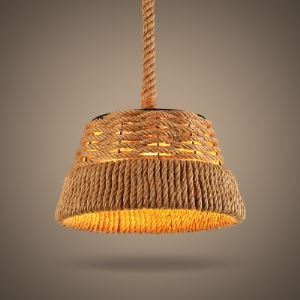 12'' Wide Burlap Single Light Mini Pendant with Trapezium Shade