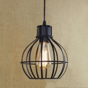 Satin Black 1 Light Iron Lattice Globe Mini Pendant Light