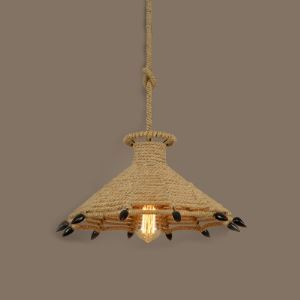 18 Inches Wide Natural Rope 1 Light Pendant with Black Claws