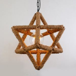 Natural Rope Star Shape Single Light Hallway Mini Pendant