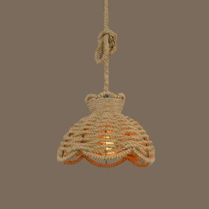 14'' Wide Burlap Scalloped Single Light Pendant Lighting