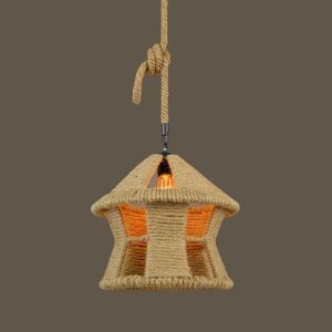 14'' Wide Single Light Natural Burlap Hanging Lantern