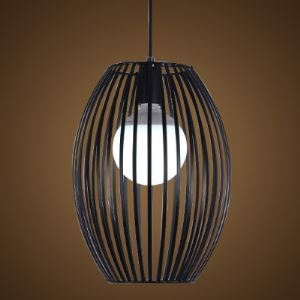 Single Light Matte Black Wrought Iron Industrial Oval Foyer Pendant