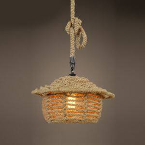 14'' Wide Single Light Burlap Sweet Home Pendant