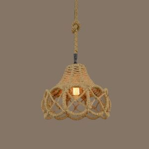 14 Inches Wide Natural Rope 1 Light Hanging Lamp with Cutout