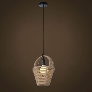 Single Light Burlap Mini Hanging Pendant with Cute Basket Shade