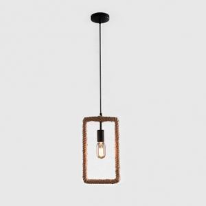 7 Inches Wide Rectangle Burlap Mini Pendant