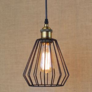 Indoor Mini Hanging Pendant in Black with Slatted Metal Cage
