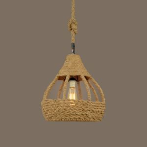 14''W Industrial Burlap Rope Dome Shade Single Light Pendant