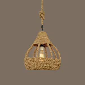 14''W Industrial Burlap Rope Dome Shade Single Light Pendant