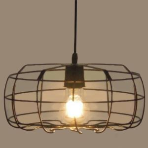 Old Steel Birdcage 1 Light Industrial Small Pendant