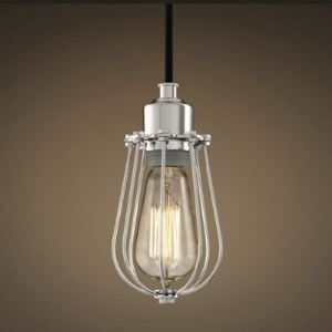 Chrome 1 Light  Mini Pendant with Heavy Wire Guard