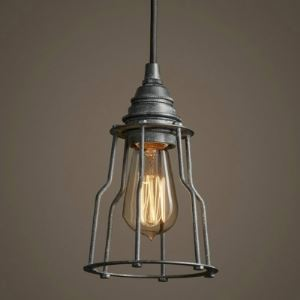 Industrial 6' Wide Bronze Mini Pendant with Open Cage