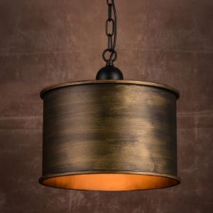 Brushed Bronze Drum 1-Light Pendant