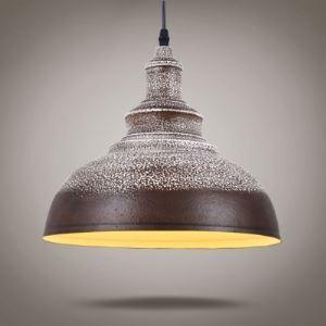 Rust Iron Plus White Spot 1 Light Industrial Warehouse Ceiling Light
