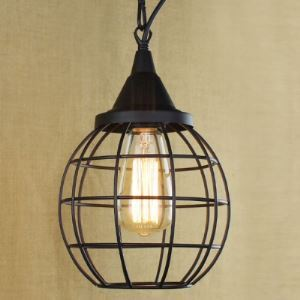 Small Round Satin Black 1-Light Mini Pendant Lighting