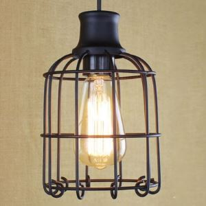 Birdcage 1-Bulb Mini-Pendant Light in Satin Black Finish