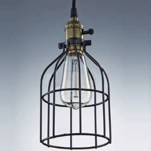 Matte Black 1-Light Mini Pendant with Wire Cage