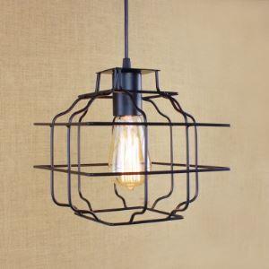 8 3/4'' W Vintage Satin Black Square 1 Light  Mini Pendant  Lighting