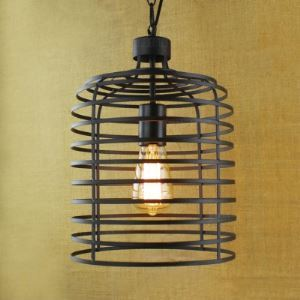 10'' Wide Vintage Iron Lattice Pendant Light in Satin Black Finish