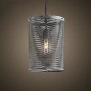 Mottled Iron Cylinder Metal Mesh 1 Light Foyer Pendant