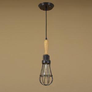 Vintage Satin Black  Spun Wood 1 Light Full Sized Pendant